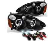 2002 2003 2004 Acura RSX Integra DC5 Black Halo Projector Headlights Lamps Assembly + 6000K HID Kit