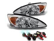 Toyota Camry LE SE XLE Chrome Clear Headlights Lamps Replacement + Slim Ballast 8K White Blue HID