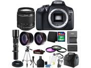 Canon EOS Rebel 1300D/T6 18MP DSLR Camera + 18-55mm IS II + 500mm Telephoto Lens + T-mount + 58mm 3pc Filter Kit + Telephoto & Wide Angle Lens + 8GB Memory Card +  Wallet + Card Reader  + Gadget Bag +