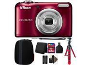 Nikon COOLPIX A10 16.1 MP Compact Digital Camera (Red) + 64GB Accessory Kit (International Version) 9SIAB2G58X9671