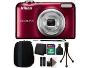 Nikon COOLPIX A10 16.1 MP Compact Digital Camera (Red) + 16GB Accessory Kit (International Version) 9SIAB2G58X9646