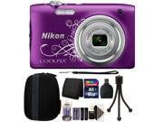 Nikon COOLPIX A10 16.1MP Compact Digital Camera (Purple) + 16GB Accessory Kit (International Version) 9SIAB2G58X9674