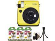 Fujifilm Instax Mini 70 Instant Film Camera with 60 Film + Cleaning Kit Yellow