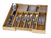 Expandable Bamboo Kitchen Storage Organizer, Knife Sets, Utensils