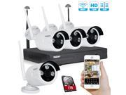 Tmezon 4CH 720P 960P HD NVR Wireless Security CCTV Surveillance Systems WIFI NVR Kits Four 1.3MP Wireless WIFI Indoor Outdoor IP Cameras P2P 65FT Night Vision