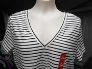 Mossimo Women's V-Neck Short Sleeve Tee, XXL, Black/White Stripe 9SIAB8E5M88812