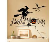 Dnven 27 w X 19 h Happy Halloween Pumpkins Spooky Cemetery Witch and Bats Tomb Wall Decals Window Stickers Halloween Decorations for Kids Rooms Nursery Hallow