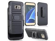 BLACK GRIP RING CASE COVER + BELT CLIP HOLSTER STAND FOR SAMSUNG GALAXY S7 EDGE