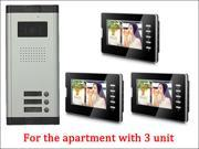 7 LCD Monitor Wired Video Door Phone with 380TVL Camera 2 Way voice talking Night Vision 1 Unit outdoor 3Unit Indoor Apartment Audio Visual Entry Intercom Sys