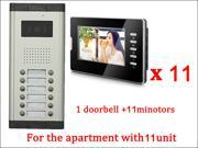 7 LCD Monitor Wired Video Door Phone with 380TVL Camera 2 Way voice talking Night Vision 1 Unit outdoor 11 Unit Indoor Apartment Audio Visual Entry Intercom S