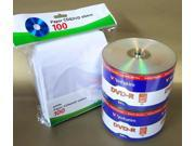 100pcs VERBATIM Blank DVD R DVDR 16X 4.7GB Logo Branded Media Disc 100 Sleeves