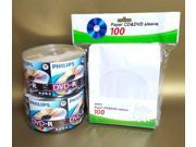 New 100 PHILIPS DVD R Logo 16X 4.7GB Media Disc 2x50pk 100 White Paper Sleeves !