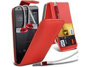 i-Tronixs HTC Desire 530 (Red + Earphone) case Leather Classic Flip case -Red