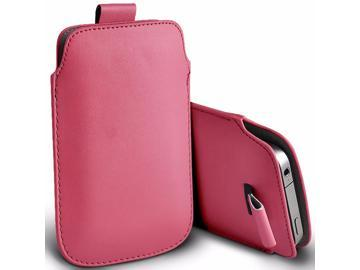 iTronixs - Panasonic Eluga Turbo (5 inch) Protective Faux Leather Pull Tab Stylish Fitted Pouches Case Cover Skin - Baby Pink