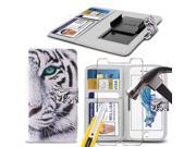 iTronixs - Sharp Aquos Compact (4.7 inch) Case PU Leather White Tiger Printed Design Pattern Wallet Clamp Style Spring Skin Cover With Tempered Glass 9SIABHT56F7784