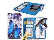 iTronixs Walton Primo X4 5.5 inch Case PU Leather Blue Butterfly Printed Design Pattern Wallet Clamp Style Spring Skin Cover With Tempered Glass