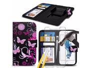 iTronixs - Sharp Aquos Compact (4.7 inch) Case PU Leather Pink Butterfly Printed Design Pattern Wallet Clamp Style Spring Skin Cover With Tempered Glass 9SIABHT56F5982