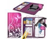 iTronixs - Texet X-Cosmo (5.5 inch) Case PU Leather Purple Butterfly Printed Design Pattern Wallet Clamp Style Spring Skin Cover With Tempered Glass