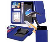 iTronixs - Sharp Aquos Compact (4.7 inch)- Blue Case Clamp Style Wallet Protective PU Leather Cover with Tempered Glass 9SIABHT56K8873