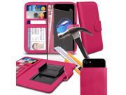 iTronixs Bluboo X6 5.5 inch Pink Case Clamp Style Wallet Protective PU Leather Cover with Tempered Glass