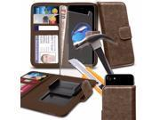 iTronixs Zenfone 3 Laser 5.5 inch Brown Case Clamp Style Wallet Protective PU Leather Cover with Tempered Glass
