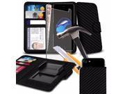 iTronixs BlackView E7S 5.5 inch Carbon Black Case Clamp Style Wallet Protective PU Leather Cover with Tempered Glass