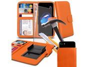 iTronixs Allview X2 Soul Style 5 inch Orange Case Clamp Style Wallet Protective PU Leather Cover with Tempered Glass