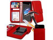 iTronixs Panasonic Eluga Note 5.5 inch Red Case Clamp Style Wallet Protective PU Leather Cover with Tempered Glass