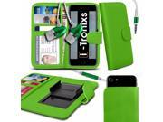 iTronixs Blackview JK450 4.5 inch Case Clamp Style Wallet Protective PU Leather Cover With Earphone Green