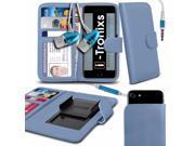iTronixs Alcatel Ideal 4.5 inch Case Clamp Style Wallet Protective PU Leather Cover With Earphone Baby Blue