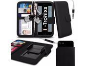 iTronixs Micromax Bolt Supreme 4 Q352 5 inch Case Clamp Style Wallet Protective PU Leather Cover With Earphone Black