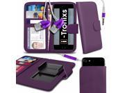 iTronixs Oukitel C2 4.5 inch Case Clamp Style Wallet Protective PU Leather Cover With Earphone Purple