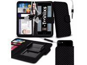 iTronixs - Doogee Shoot 1 (5.5 inch) Case Clamp Style Wallet Protective PU Leather Cover With Earphone - Black Carbon