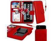 iTronixs - Jiake MX5 (4.5 inch) Case Clamp Style Wallet Protective PU Leather Cover With Earphone - Red