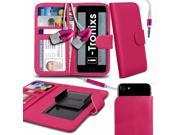 iTronixs Siswoo C55 Longbow 5.5 inch Case Clamp Style Wallet Protective PU Leather Cover With Earphone Pink
