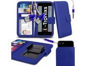 iTronixs - LG K10 20175 (5.3 inch) Case Clamp Style Wallet Protective PU Leather Cover With Earphone - Blue