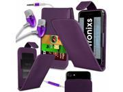 iTronixs -Leeco Le 2 X20 (5.5 inch) - PU Leather Slide-Up / Down Spring Pocket Top Flip Folio Phone Case Cover With Earphone - Purple