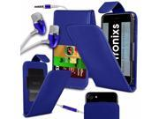 iTronixs -Acer Liquid Z410 (4.5 inch) - PU Leather Slide-Up / Down Spring Pocket Top Flip Folio Phone Case Cover With Earphone - Blue