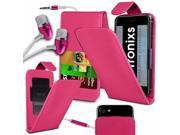 iTronixs -Q Mobile Noir Z8 (5 inch) - PU Leather Slide-Up / Down Spring Pocket Top Flip Folio Phone Case Cover With Earphone - Pink