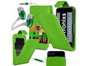 iTronixs Qiku F4 5 inch PU Leather Slide Up Down Spring Pocket Top Flip Folio Phone Case Cover With Earphone Green