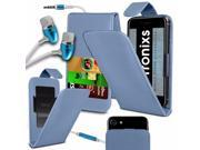 iTronixs Huawei G8 5.5 inch PU Leather Slide Up Down Spring Pocket Top Flip Folio Phone Case Cover With Earphone Baby Blue