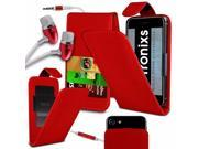 iTronixs Zenfone Selfie 5.5 inch PU Leather Slide Up Down Spring Pocket Top Flip Folio Phone Case Cover With Earphone Red