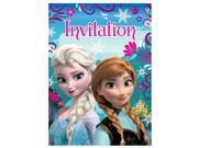 Frozen Princess Anna Queen Elsa Pack of 8 Invitations - Blue 9SIABHU58N7013