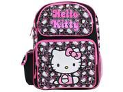 "Hello Kitty Large 16"""" Cloth Backpack Book Bag Pack - Blk Wht Faces"" 9SIABHU58N7203"