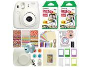 Fuji Instax Mini 8 Fujifilm Instant Film Camera White + 40 Film Deluxe Bundle