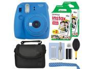 Fujifilm Instax Mini 9 Instant Film Camera Cobalt Blue + 40 Film Accessory Kit