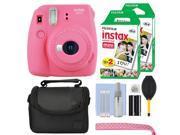 Fujifilm Instax Mini 9 Instant Film Camera Flamingo Pink + 40 Film Accessory Kit
