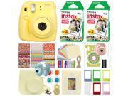 Fuji Instax Mini 8 Fujifilm Instant Film Camera Yellow + 40 Film Deluxe Bundle