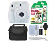 Fujifilm Instax Mini 9 Instant Film Camera Smokey White + 40 Film Accessory Kit