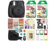 Fuji Instax Mini 8 Fujifilm Instant Film Camera Black + 40 Film Deluxe Bundle
